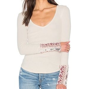Free People Art School Cuff Ivory Thermal Top